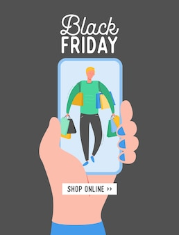 Płaska konstrukcja koncepcji black friday, szablon aplikacji mobilnej sprzedaży koncepcyjnej z postacią człowieka, baner zakupów online, plakat oferty specjalnej,