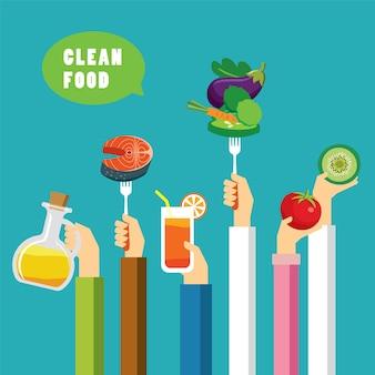 Płaska konstrukcja koncepcji czystego jedzenia