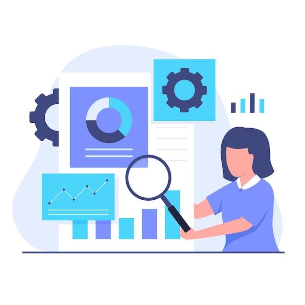 Płaska konstrukcja koncepcji ilustracji badań rynku