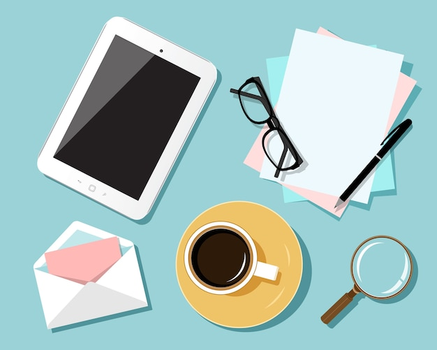 Płaska konstrukcja koncepcji miejsca pracy. widok z góry na stół z tabletem, płaska konstrukcja koncepcji biznesowego miejsca pracy.