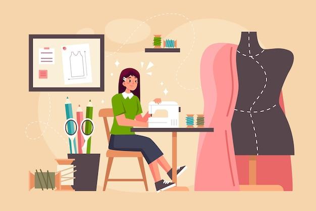 Płaska konstrukcja koncepcji projektanta mody