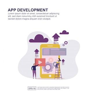 Płaska konstrukcja koncepcji rozwoju aplikacji do prezentacji.