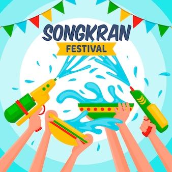 Płaska konstrukcja koncepcji songkran