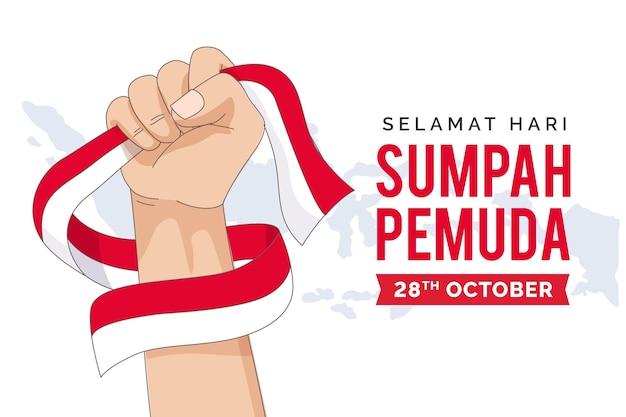 Płaska konstrukcja koncepcji sumpah pemuda
