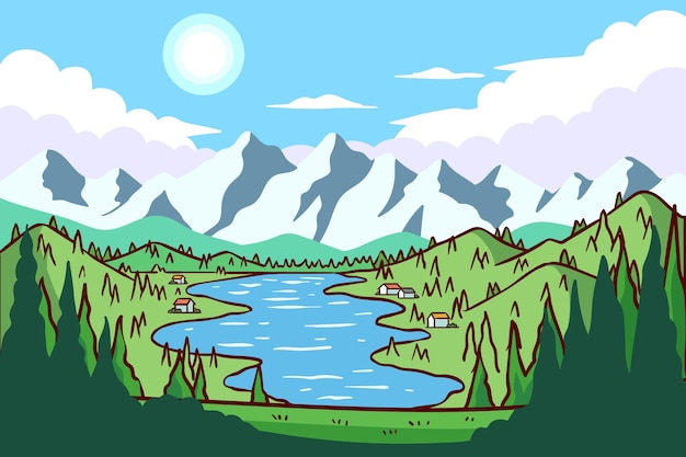 Płaska konstrukcja krajobrazu wsi