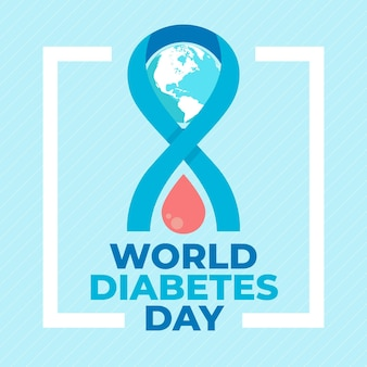 Płaska konstrukcja kropli krwi na światowy dzień cukrzycy