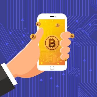 Płaska konstrukcja kryptowaluta bitcoin