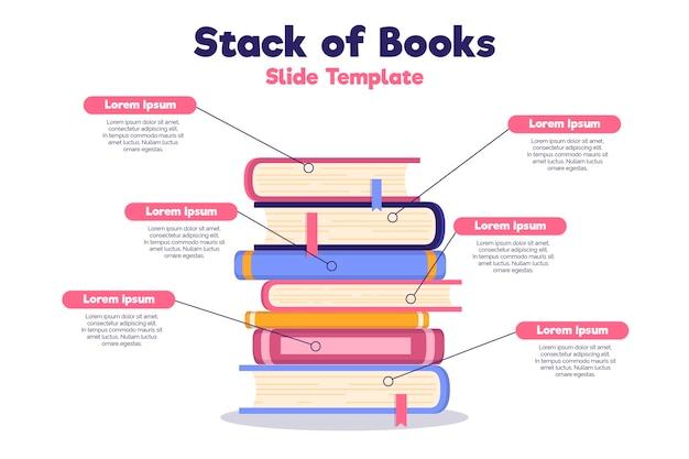 Płaska konstrukcja książki infografiki szablon