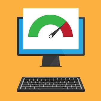 Płaska konstrukcja laptopa z testem prędkości na ekranie.