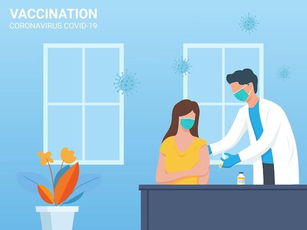 Płaska konstrukcja lekarza wstrzykującego szczepionkę pacjentowi