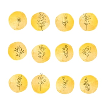 Płaska konstrukcja liniowych liści i kwiatów