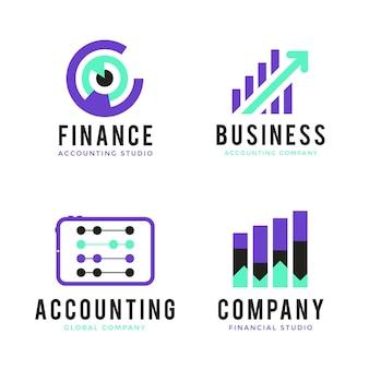 Płaska konstrukcja logo rachunkowości na białym tle