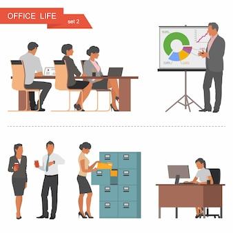 Płaska konstrukcja ludzi biznesu lub pracowników biurowych.