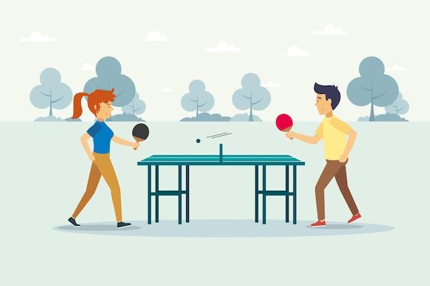 Płaska konstrukcja ludzi grających w tenisa stołowego ilustracja