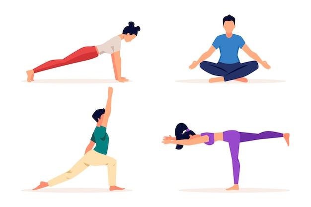 Płaska konstrukcja ludzi robi joga