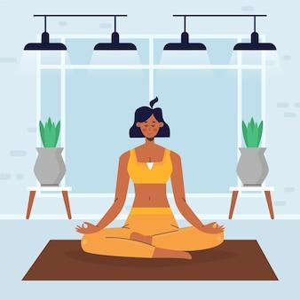 Płaska konstrukcja ludzi robi temat jogi