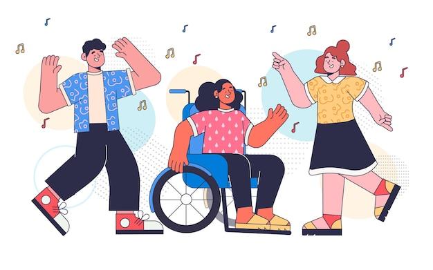 Płaska konstrukcja ludzi tańczących