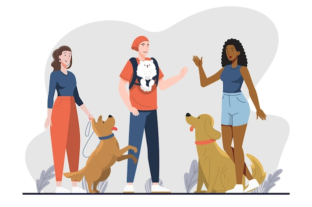 Płaska konstrukcja ludzi z psami
