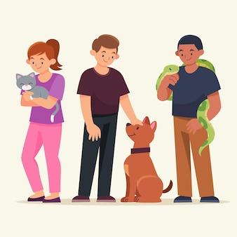 Płaska konstrukcja ludzi z różnymi zwierzętami