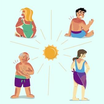 Płaska konstrukcja ludzi z zestawem oparzeń słonecznych