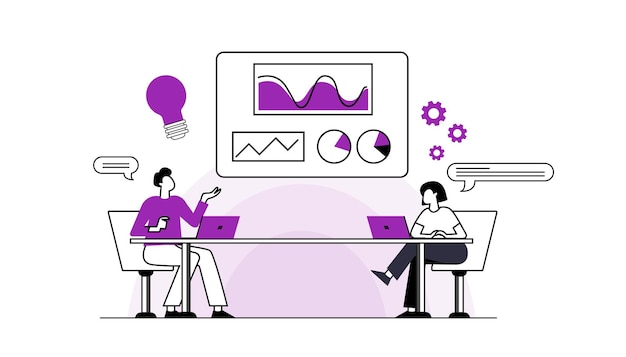 Płaska konstrukcja ludzie ikony strategii biznesowej i analityki rozwoju projektów