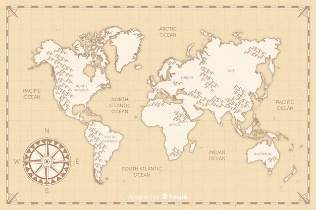 Płaska konstrukcja mapa świata vintage