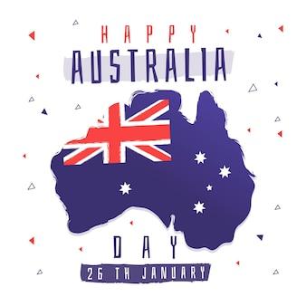 Płaska konstrukcja mapy dnia australii