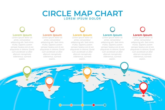 Płaska konstrukcja mapy plansza z ikonami lokalizacji