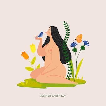 Płaska konstrukcja matka dzień ziemi tło