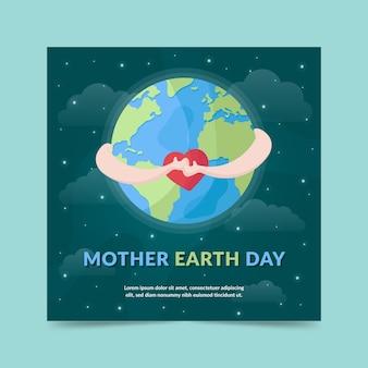 Płaska konstrukcja matka dzień ziemi transparent nocnego nieba