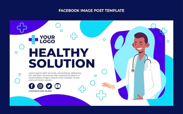 Płaska konstrukcja medycznego postu na facebooku