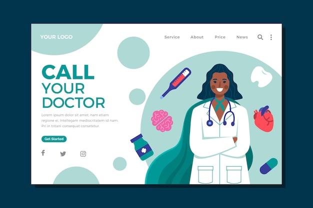 Płaska konstrukcja medycznego szablonu internetowego