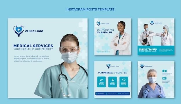 Płaska konstrukcja medycznego szablonu postu na instagramie