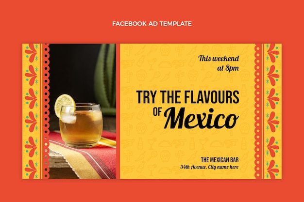 Płaska konstrukcja meksyk pije szablon facebook