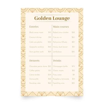 Płaska konstrukcja menu restauracji