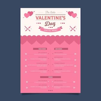 Płaska konstrukcja menu walentynki