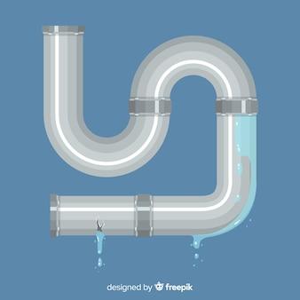 Płaska konstrukcja metalowa rura wycieka woda