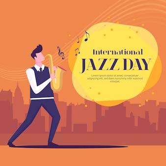 Płaska konstrukcja międzynarodowa koncepcja dnia jazzowego