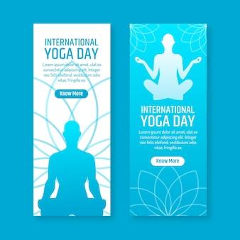 Płaska konstrukcja międzynarodowego dnia jogi transparent