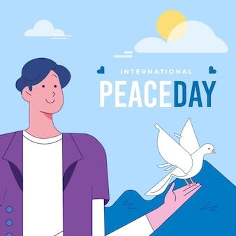 Płaska konstrukcja międzynarodowego dnia pokoju tło z gołębiem i człowiekiem