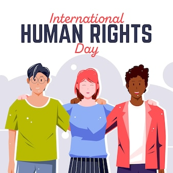 Płaska konstrukcja międzynarodowego dnia praw człowieka