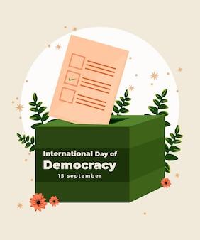Płaska konstrukcja międzynarodowy dzień demokracji w tle