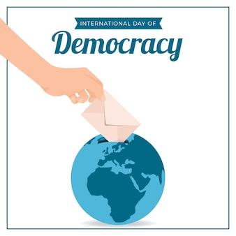 Płaska konstrukcja międzynarodowy dzień demokracji z ręką i kulą ziemską