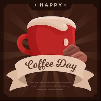 Płaska konstrukcja międzynarodowy dzień kawy tło