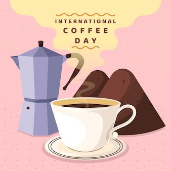 Płaska konstrukcja międzynarodowy dzień kawy