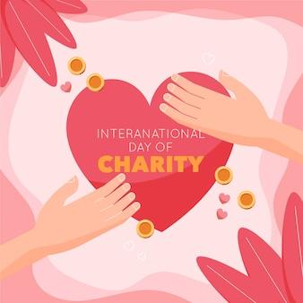 Płaska konstrukcja międzynarodowy dzień koncepcji charytatywnej