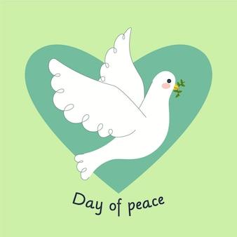 Płaska konstrukcja międzynarodowy dzień pokoju tło z gołębiem