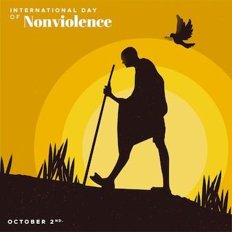 Płaska konstrukcja międzynarodowy dzień tła bez przemocy