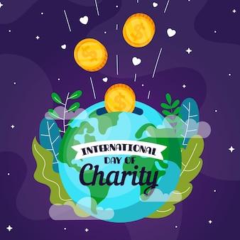 Płaska konstrukcja międzynarodowy dzień tła charytatywnego