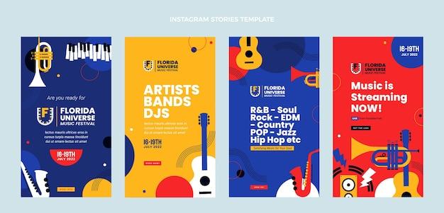 Płaska konstrukcja minimalistyczna historia festiwalu muzycznego na instagramie